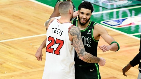 Chicago Bulls center Daniel Theis and Boston Celtics forward Jayson Tatum