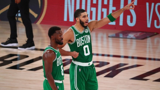 Boston Celtics guard Kemba Walker and forward Jayson Tatum