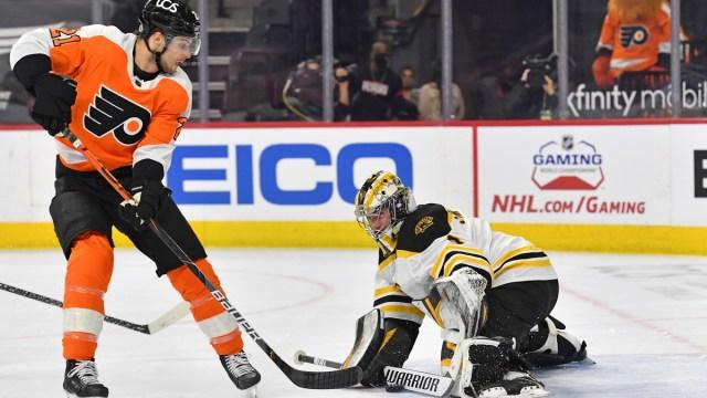 Boston Bruins goaltender Jeremy Swayman, Philadelphia Flyers winger Scott Laughton