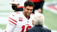 San Francisco 49ers quarterback Jimmy Garoppolo and New England Patriots owner Robert Kraft