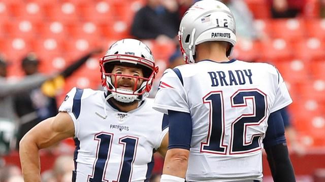 Former New England Patriots' Julian Edelman, Tom Brady