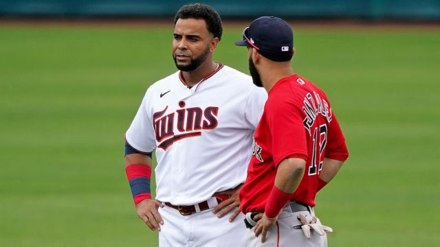 Boston Red Sox player Marwin Gonzalez and Minnesota Twins player Nelson Cruz
