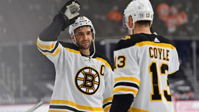 Boston Bruins center Patrice Bergeron and center Charlie Coyle