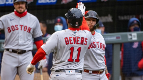 Boston Red Sox third baseman Rafael Devers, Christian Vazquez
