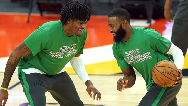 Boston Celtics players Robert Williams and Jaylen Brown
