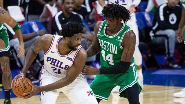 Boston Celtics center Robert Williams and Philadelphia 76ers center Joel Embiid