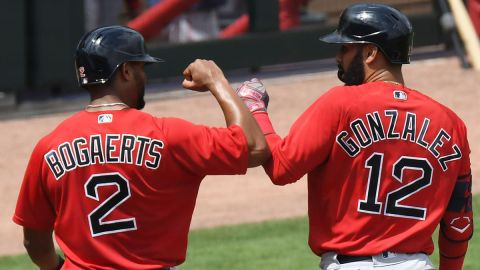 Boston Red Sox players Xander Bogaerts and Marwin Gonzalez