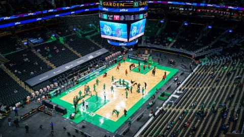 Boston Celtics warm up at TD Garden