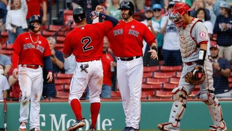 Boston Red Sox outfielder Alex Verdugo, shortstop Xander Bogaerts, designated hitter J.D. Martinez