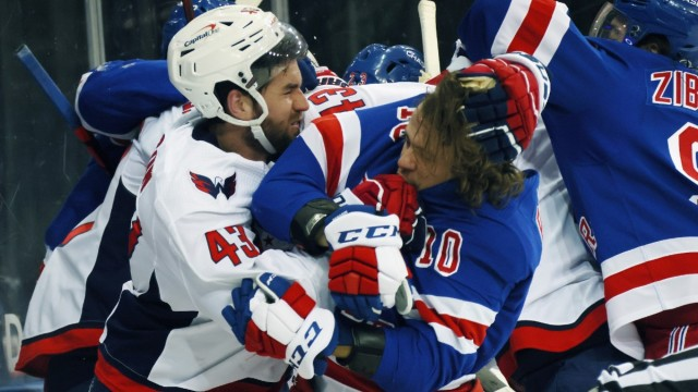 Washington Capitals winger Tom Wilson, New York Rangers winger Artemi Panarin