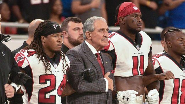 Atlanta Falcons owner Arthur Blank and wide receiver Julio Jones