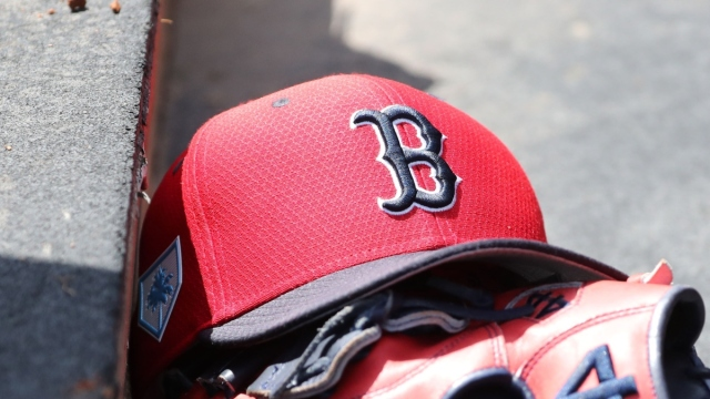Boston Red Sox hat and glove