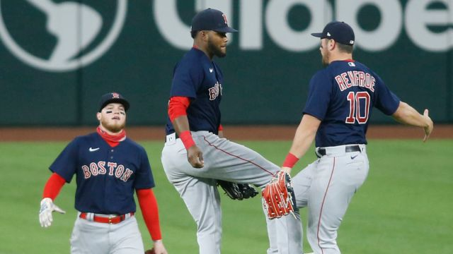Boston Red Sox outfielders Alex Verdugo, Franchy Cordero and Hunter Renfroe