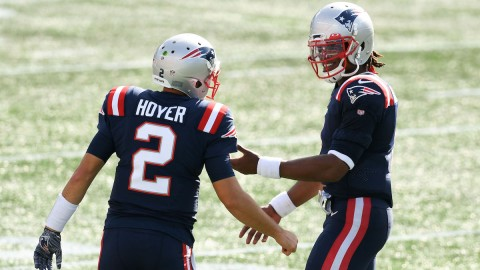Patriots quarterbacks Brian Hoyer, Cam Newton