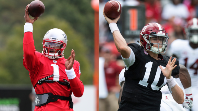 Patriots quarterbacks Cam Newton, Mac Jones