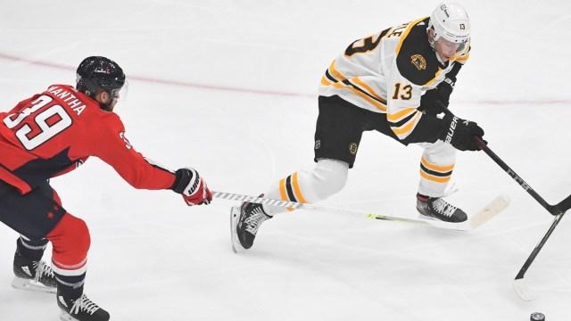 Boston Bruins center Charlie Coyle, Washington Capitals winger Anthony Mantha