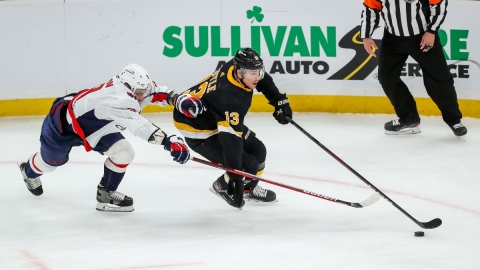 Boston Bruins winger Charlie Coyle (13) and Washington Capitals defenseman Dmitry Orlov (9)