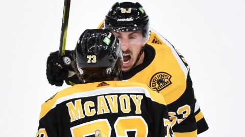 Boston Bruins Defenseman Charlie McAvoy, Forward Brad Marchand