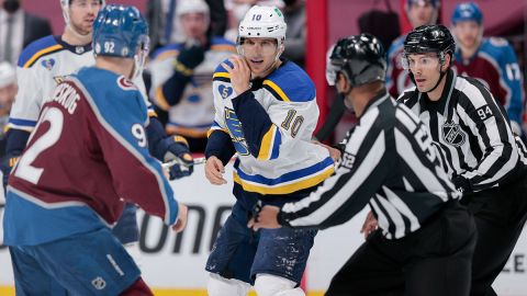 Colorado Avalanche left wing Gabriel Landeskog and St. Louis Blues right wing Brayden Schenn