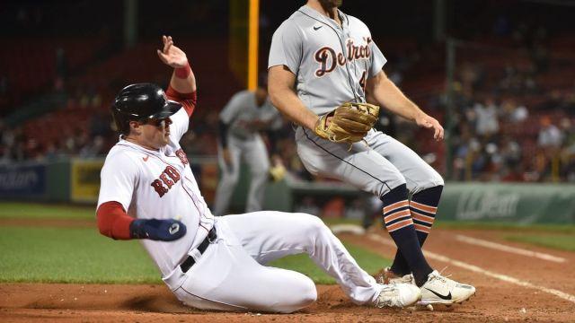 Boston Red Sox outfielder Hunter Renfroe, Detroit Tigers' Daniel Norris
