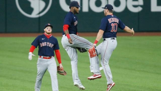Boston Red Sox outfielders Alex Verdugo, Franchy Cordero, Hunter Renfroe