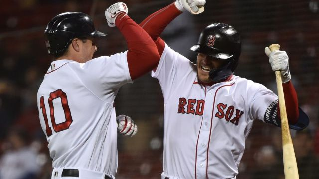 Boston Red Sox outfielders Hunter Renfroe, Kiké Hernández