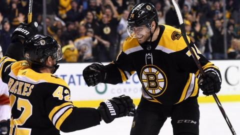 Boston Bruins winger Jake DeBrusk, Anaheim Ducks winger David Backes