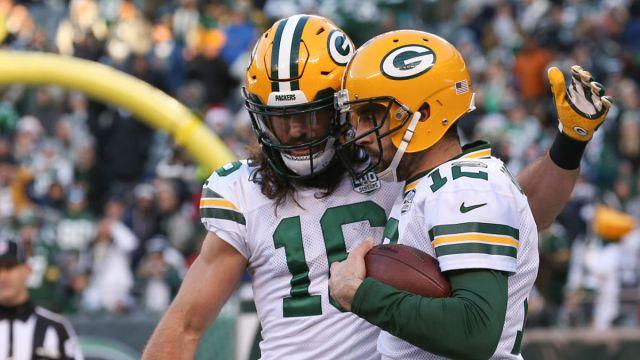 Green Bay Packers Jake Kumerow, Aaron Rodgers