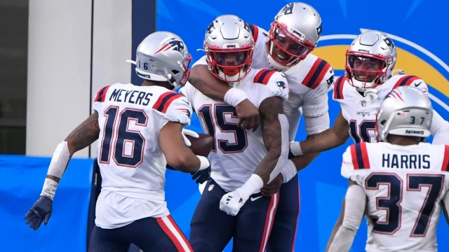 New England Patriots wide receivers N'Keal Harry (15) and Jakobi Meyers (16) and quarterback Cam Newton (1)