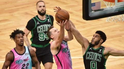 Boston Celtics wings Jayson Tatum, Evan Fournier, Miami Heat