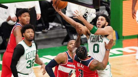 Boston Celtics forward Jayson Tatum, guard Marcus Smart, Washington Wizards guard Bradley Beal, Russell Westbrook