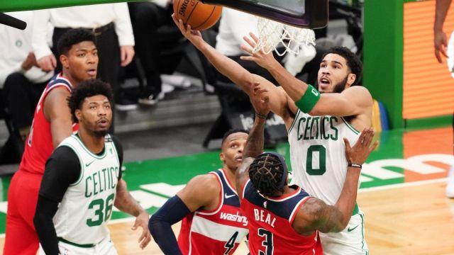 Boston Celtics forward Jayson Tatum, guard Marcus Smart, Washington Wizards guard Bradley Beal, Russell Westbrook