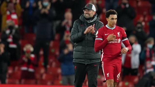 Liverpool manager Jurgen Klopp (left) and defender Trent Alexander-Arnold