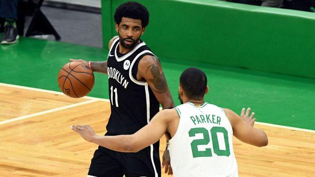 Brooklyn Nets guard Kyrie Irving and Boston Celtics forward Jabari Parker