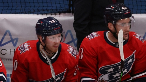 Washington Capitals forwards Lars Eller, Tom Wilson