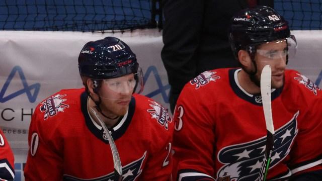 Washington Capitals forwards Lars Eller, Tom Wilson