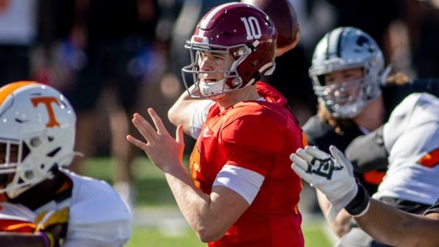 New England Patriots quarterback Mac Jones of Alabama