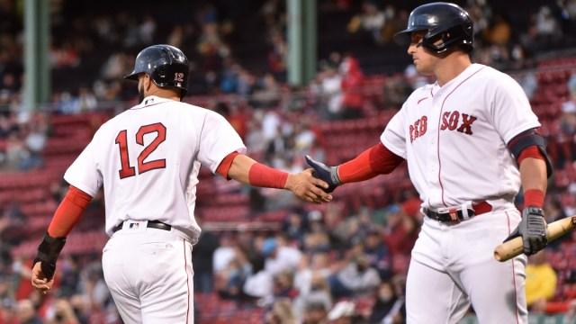 Boston Red Sox infielder Marwin González (left) and outfielder Hunter Renfroe