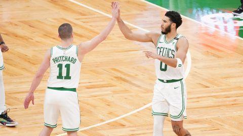 Boston Celtics guard Payton Pritchard and forward Jayson Tatum