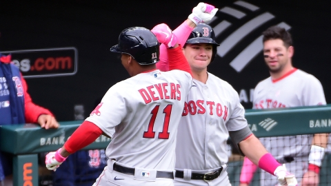 Boston Red Sox third baseman Rafael Devers, first baseman Bobby Dalbec