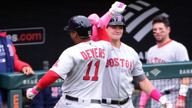 Boston Red Sox third baseman Rafael Devers, first baseman Bobby Dalbec