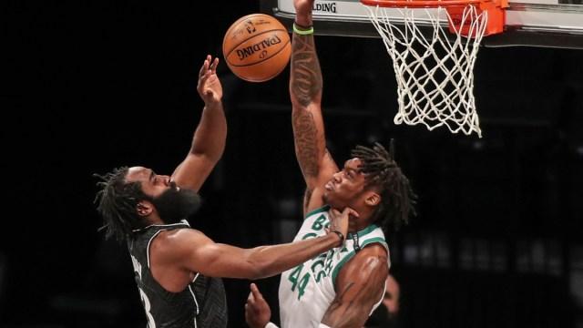 Boston Celtics center Robert Williams, Brooklyn Nets guard James Harden