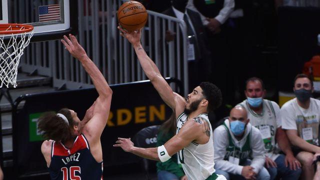 Washington Wizards center Robin Lopez and Boston Celtics forward Jayson Tatum
