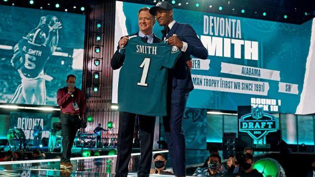 NFL commissioner Roger Goodell and Philadelphia Eagles wide receiver DeVonta Smith