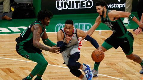 Washington Wizards guard Russell Westbrook and Boston Celtics forward Jayson Tatum