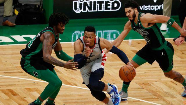 Washington Wizards guard Russell Westbrook and Boston Celtics forward Jayson Tatum