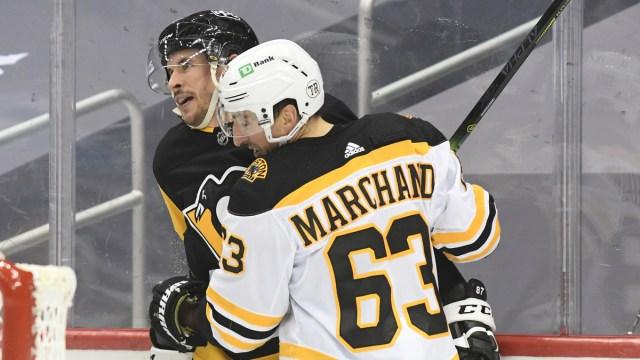 Boston Bruins winger Brad Marchand, Pittsburgh Penguins center Sidney Crosby