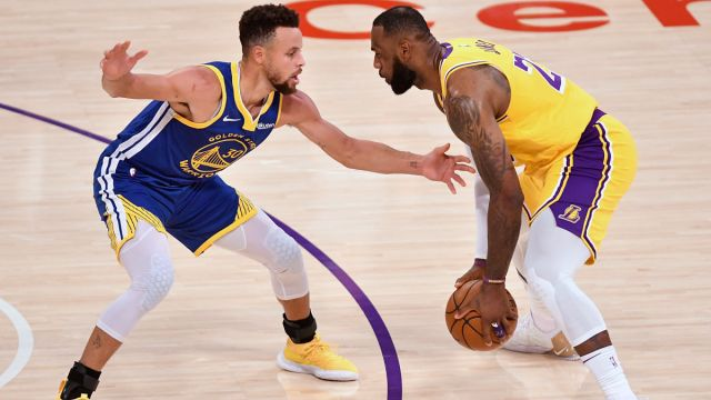 Golden State Warriors guard Stephen Curry and Los Angeles Lakers forward LeBron James