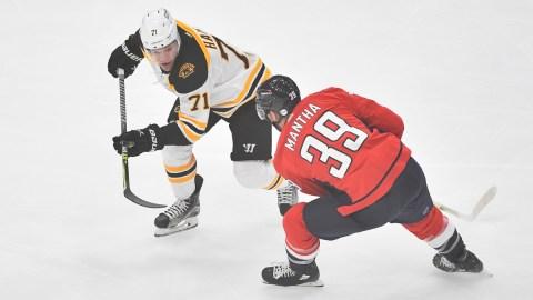 Boston Bruins winger Taylor Hall, Washington Capitals winger Anthony Mantha