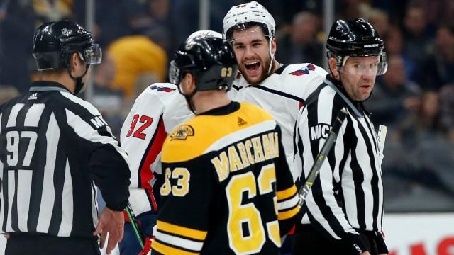 Boston Bruins winger Brad Marchand, Washington Capitals winger Tom Wilson